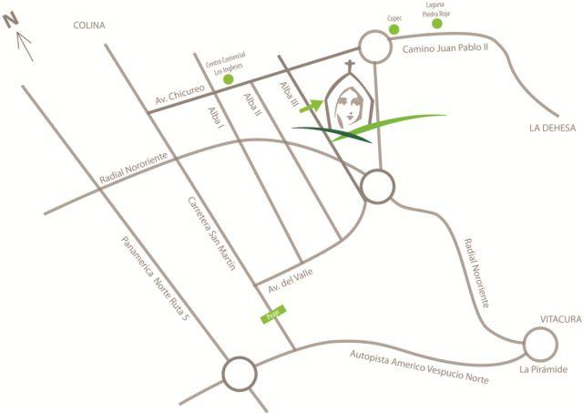 Mapa Acceso Santuario Valle Hermoso Niño Jesus